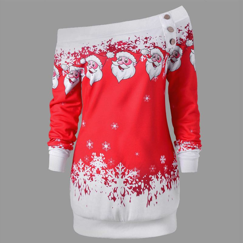 2018 Christmas Women Santa Claus Sweatshirt Skew Neck Pullover Jumper Casual Button Hoodie Sexy Off Shoulder Top Plus Size Blusa