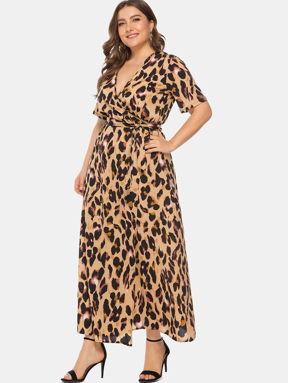 78b1f417ec Wipalo Women Plus Size 6XL Leopard Print Wrap Maxi Dress V Neck Short  Sleeves Ankle-Length Casual Dress 2019 Summer Vestidos