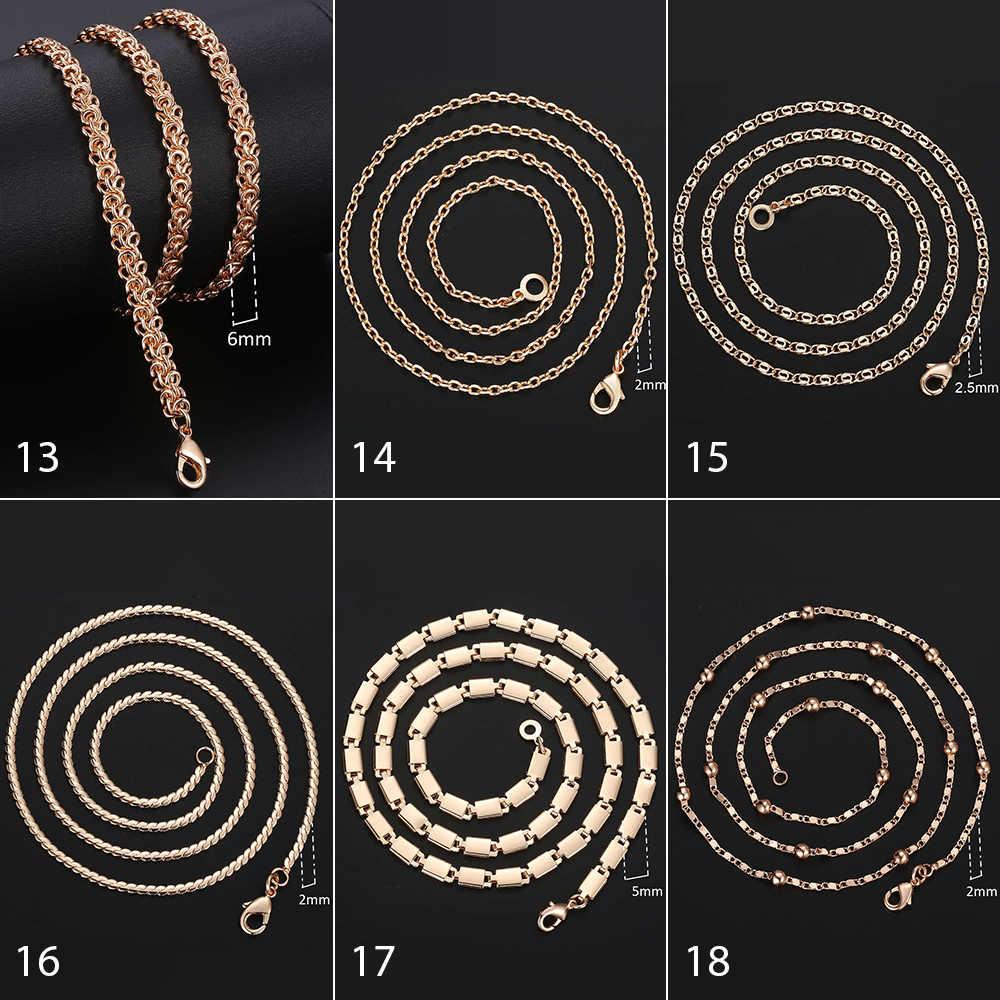 Personalizado colar para mulheres 585 rosa ouro venitian curb caracol foxtail link correntes colar moda jóias 50cm 60cm cnn1