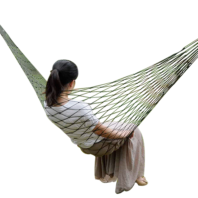 Portable Nylon Mesh Hammock Sleeping Bed For Outdoor Travel Camping Blue Green Red Hanging Folding Patio Swing Chair Furniture(China)