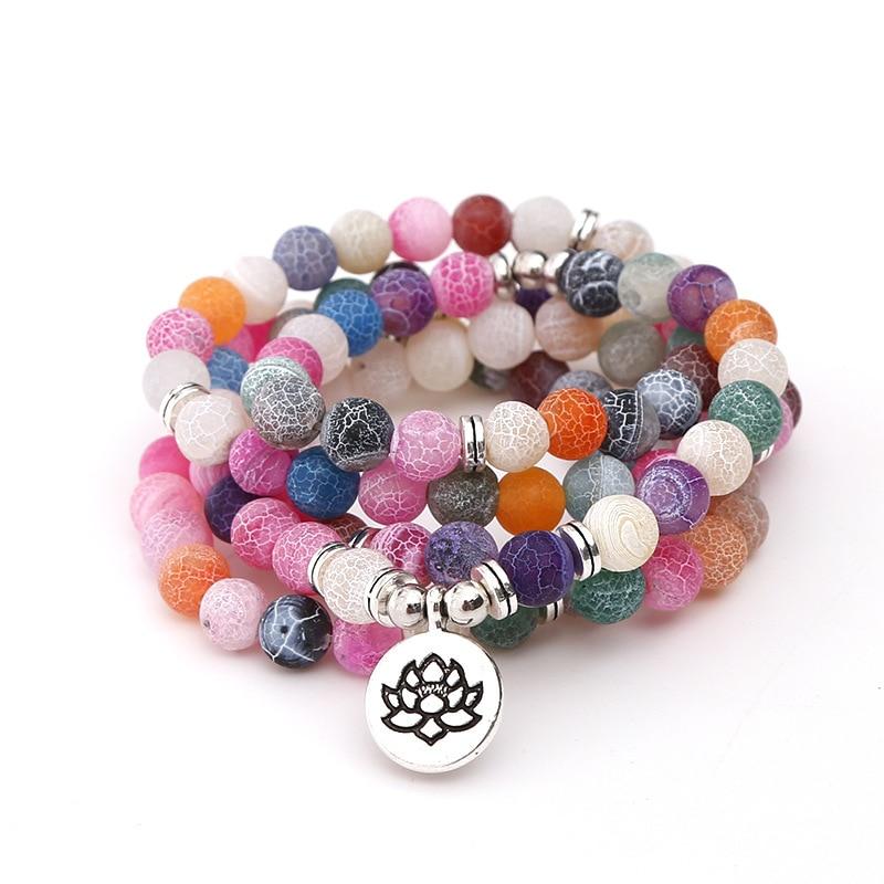 8 mm obsidienne tachetée Stone Bracelet prier Lucky Bracelet Tibet Argent Guérison Hommes