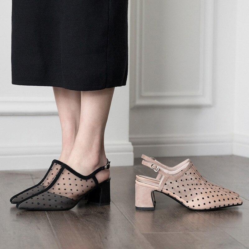 À Avec noir Mash 2019 Femmes Sandale Chaussures Talons Beige Transparent Bout Mode Sandales En Dot Et Carrés Pointu Sexy Matériel Hauts Polka zTxx1p