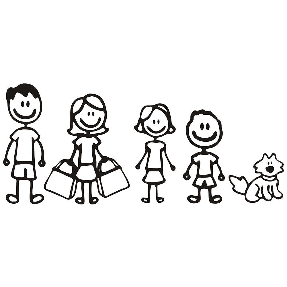 car styling Custom Family Member  Dad Mom Daughter Son And Pet Dog  Viny Decal Car Stick Figure DIY Adhesive Window Car Sticke