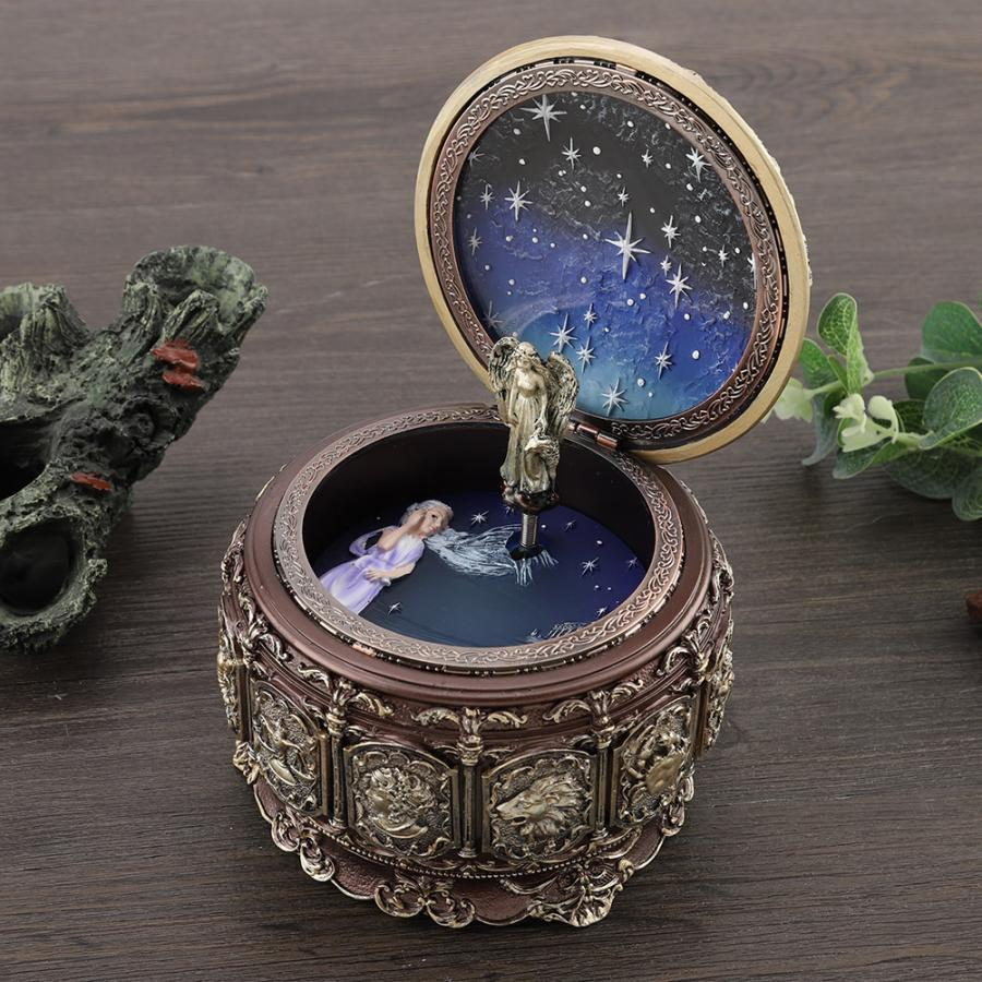 12 Constellations Music Box Rotating Goddess Twinkling LED Light box gift wooden Vintage Music Box