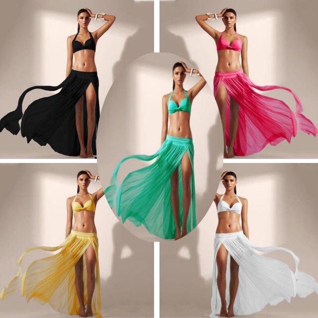 cfef57badf 2019 Newest Hot Women Summer Sexy Wrap Beach Bikini Cover Up Swimwear  Sarong Mesh Chiffon Slit Long Skirt