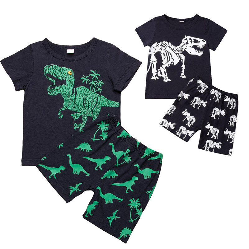 Tops Outfit T-Shirt Clothing Pants Baby-Boy-Clothes-Set Dinosaur Infant Cute Summer Black title=
