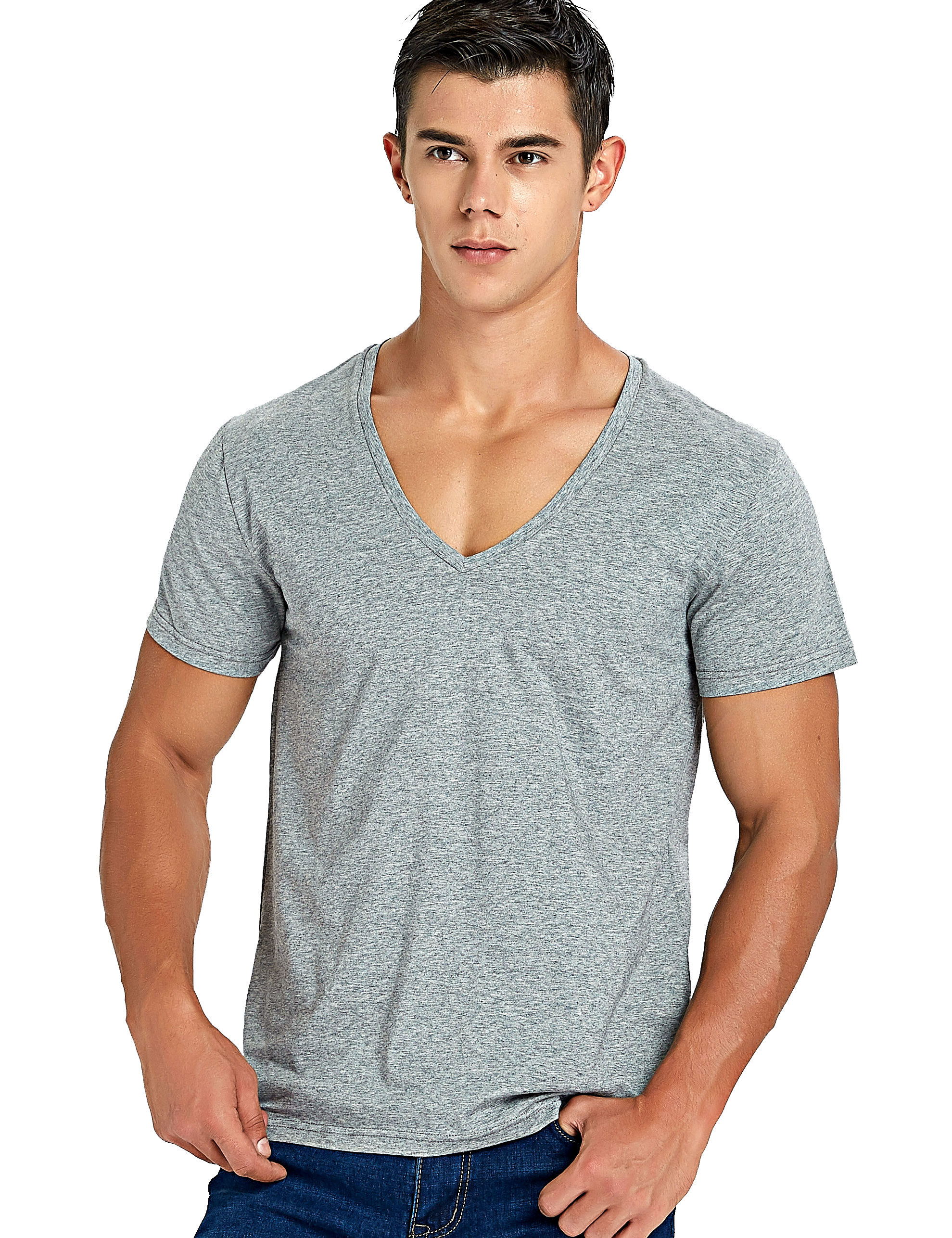 3788eb5007 Stretch Deep V Neck T Shirt for Men Low Cut Vneck Vee Top Tees Slim Fit
