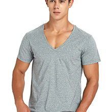 T-Shirt Deep-V-Neck Short-Sleeve Stretch Fashion for Men Low-Cut Vee Top-Tees Slim-Fit