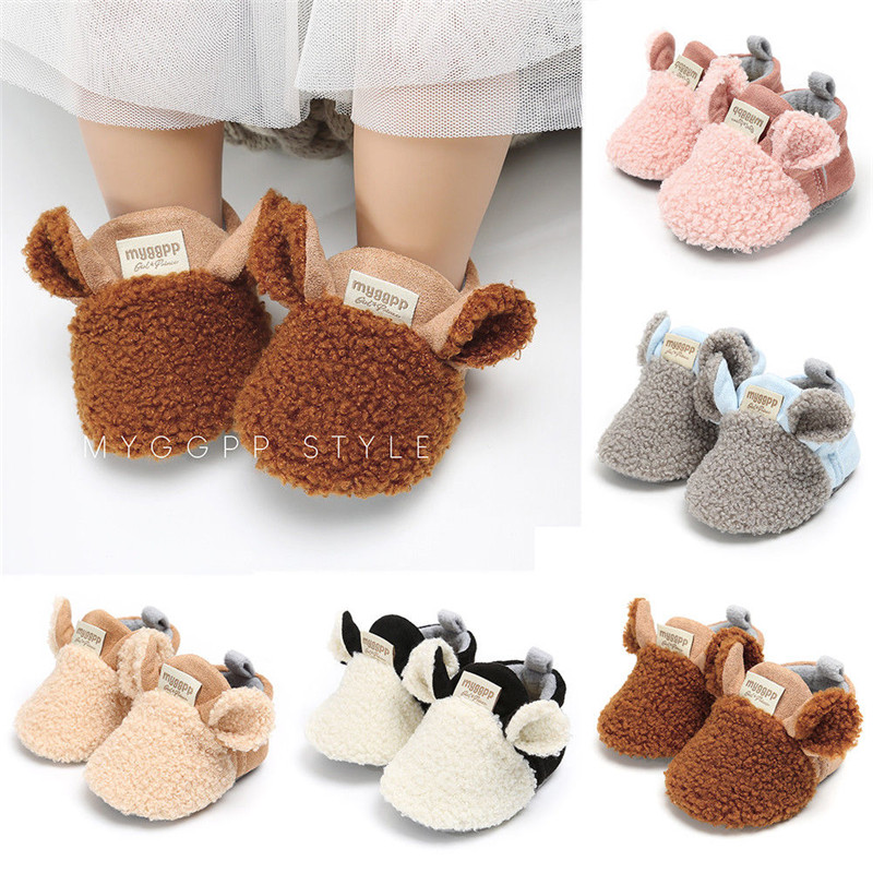 Cute Winter Newborn Infant Baby Girls Bow Soft Sole Shoes 3D Ear Prewalker Warm Casual Flats Shoes Baby Girl Moccasins Footwear