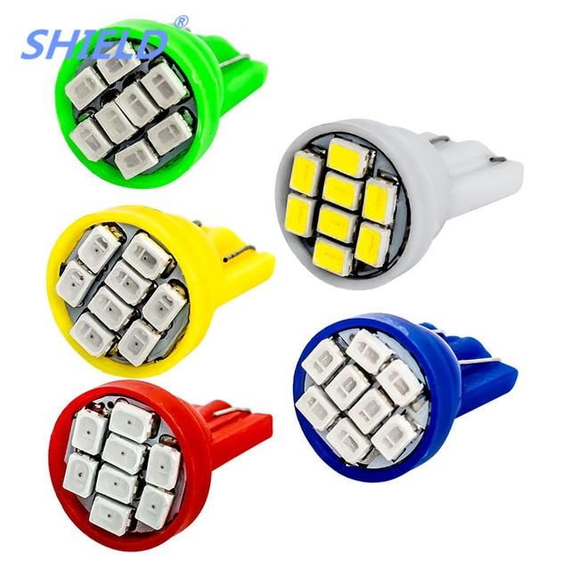 10pcs T10 LED Wedge Bulb 8 SMD 1210 LED W5W 2825 158 192 168 Car Parking Light Auto Dashboard Indicator Lamps DC 12V 10X SHIELD