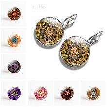 Vintage Handmade Mandala Flower Earrings Hinduism Datura Glass Dome Earring Symbol Om Zen Buddhism Yoga Jewelry For Women Gift