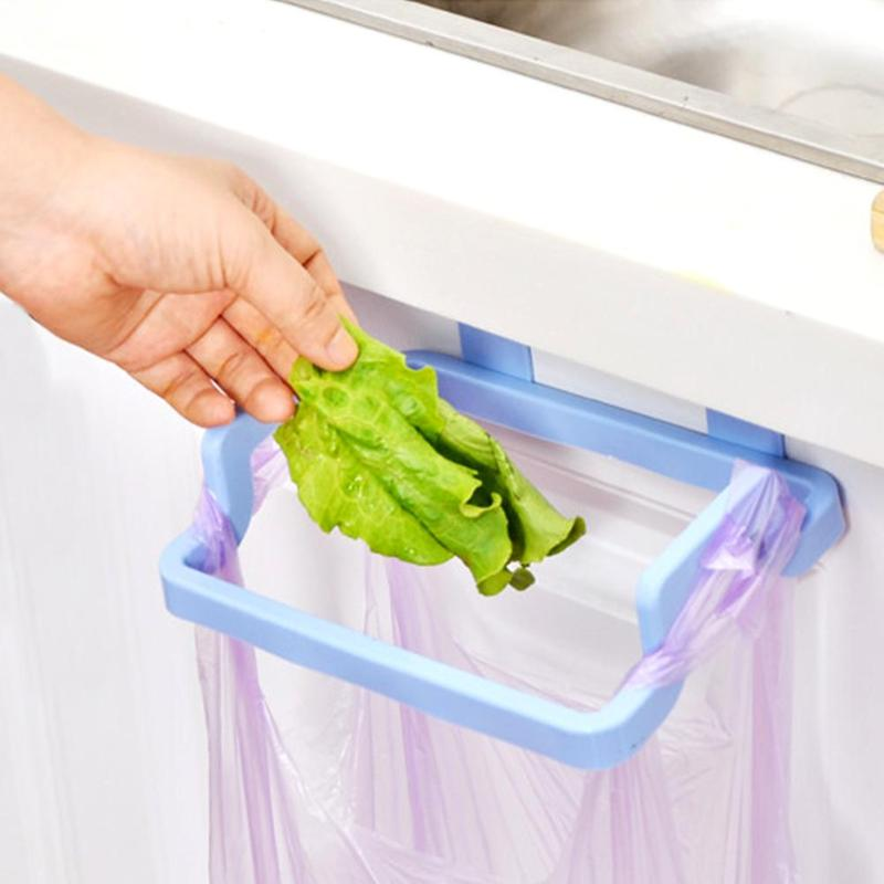 Dropshipping Cupboard Door Back Trash Rack Storage Garbage Bag Holder Hanging Kitchen Cabinets Storage Towel Shelf Holders