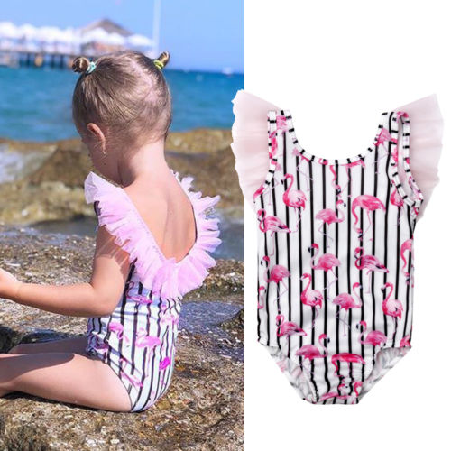 US Toddler Baby Girls Swimwear Flamingos Swimsuit One-piece Bikini Set Beachwear