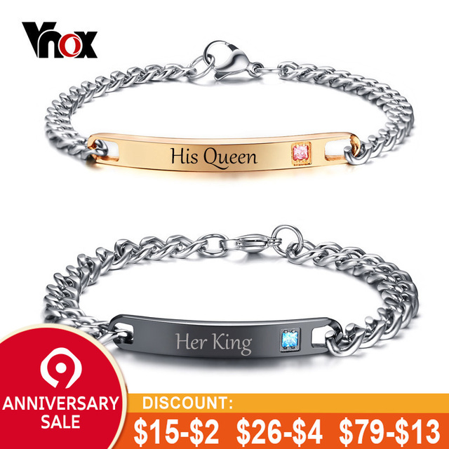 d8a6ee28d6b Vnox Free Engraving Stainless Steel Crytal ID Bracelet His Queen Her King  Couple Bracelets for Women