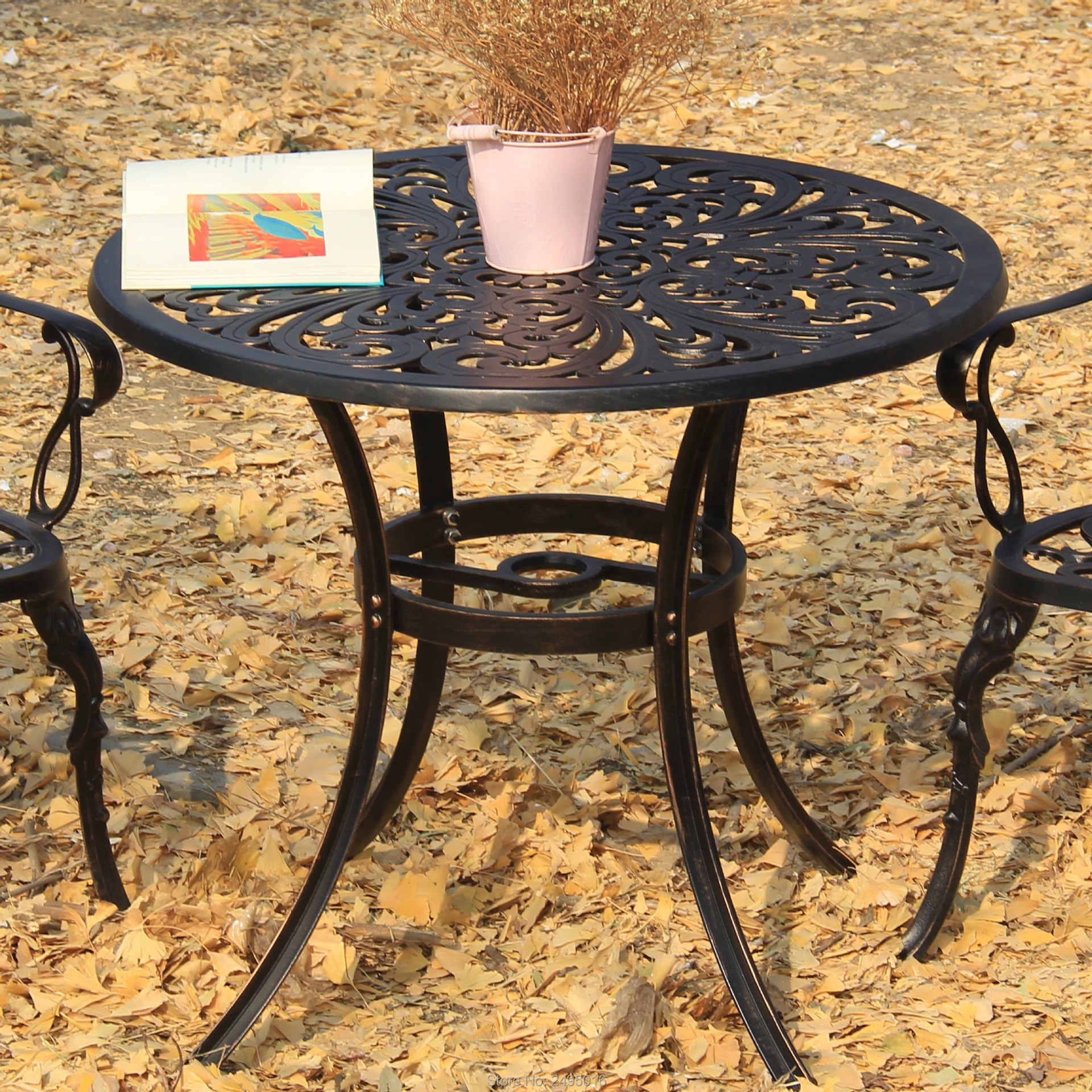 Set 5pcs Patio Furniture Dining Garden Chair And Table Solid Cast Aluminum Chat In Antique Copper