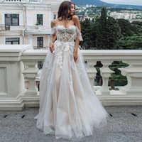 2019 Vestidos de Casamento Da Princesa Off The Shoulder Querida Applique Vestidos de Casamento Tulle See through Robe De Mariee Botões Nas Costas