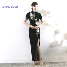 Black Velour Qipao Dresses Classic Sexy Split Long Cheongsam Dress Autumn Velvet Embroidery China Traditional Design Custom made
