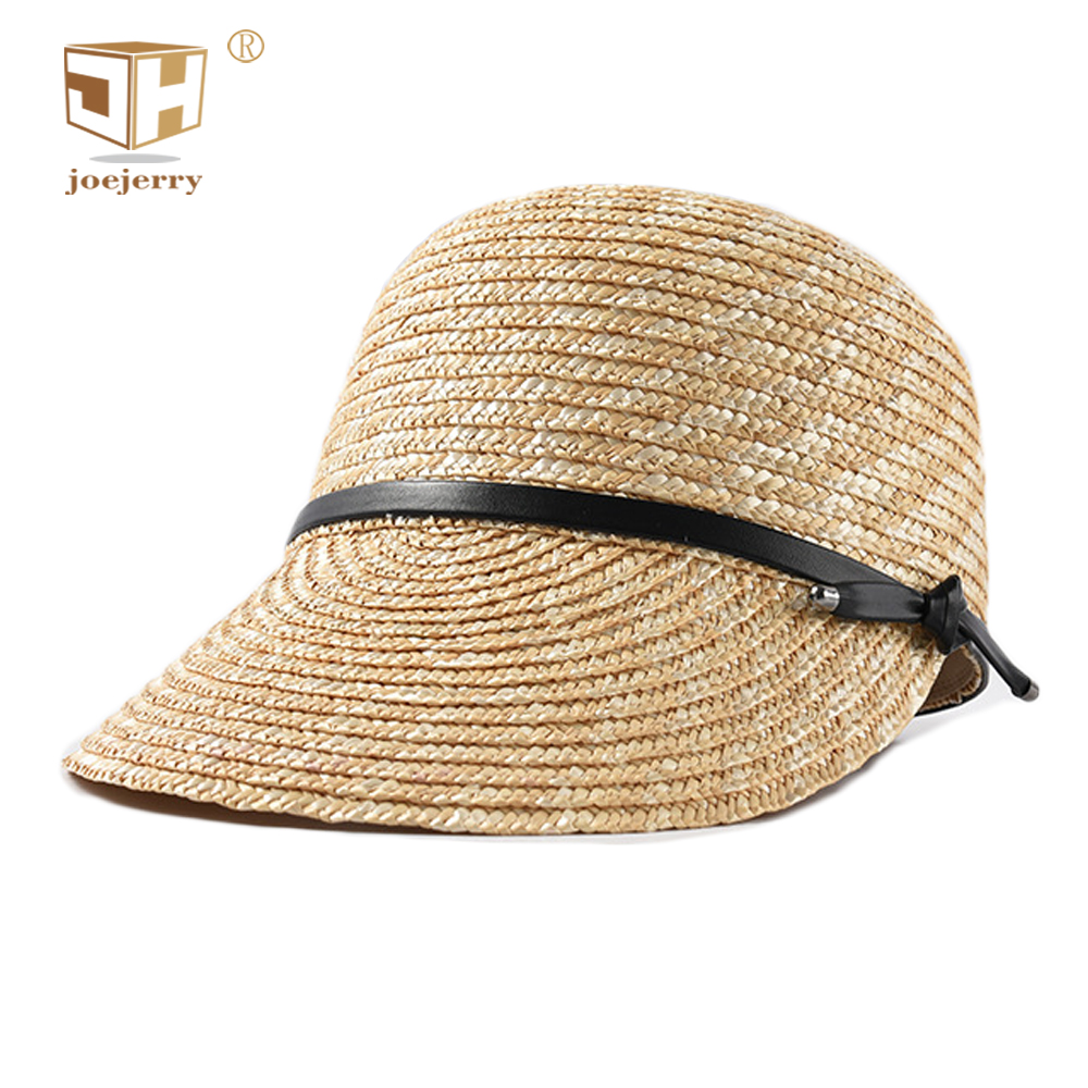86fcc49fd0021 joejerry Straw Baseball Cap Women Sun Hat Visor Equestrian cap England Lady  Hat Spring Summer 2019