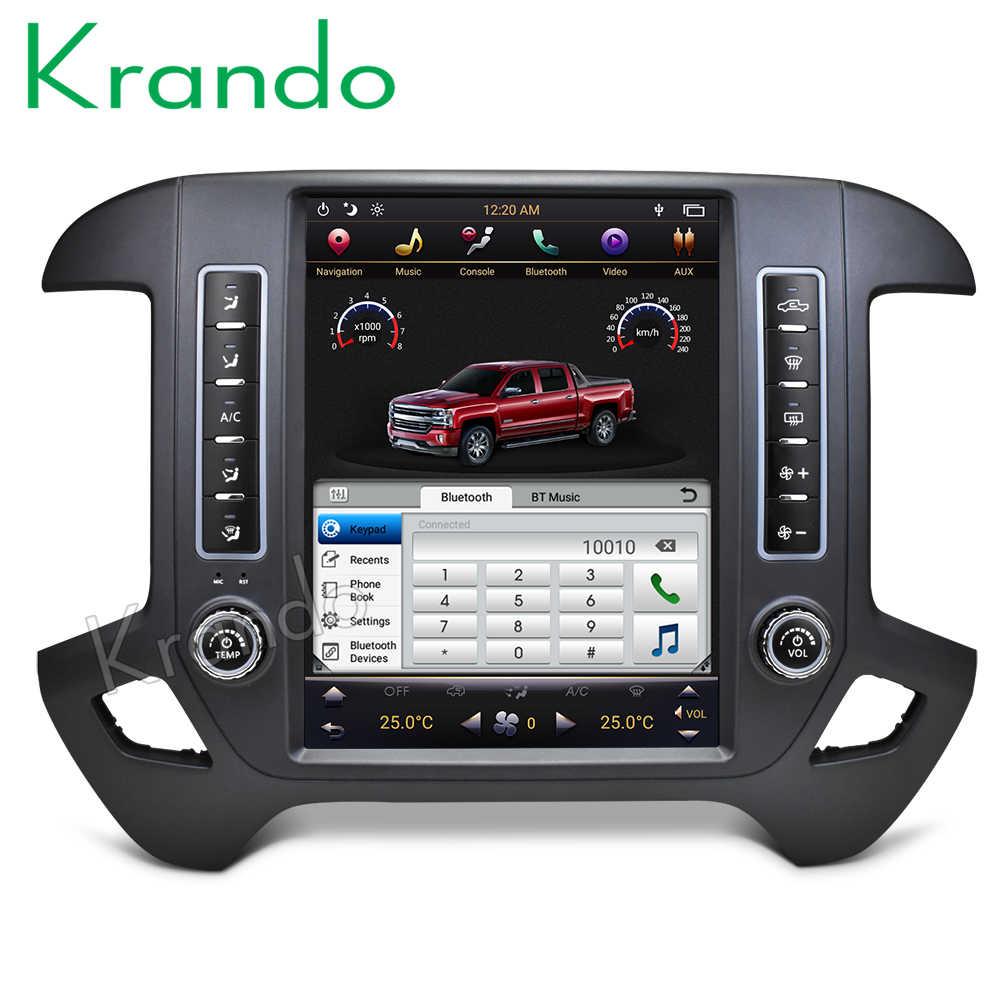 """Krando Android 8.1 12.1 """"styl tesla pionowe radio samochodowe nawigacja odtwarzacz dla chevroleta Silverado i gmc sierra 2014-2018"""