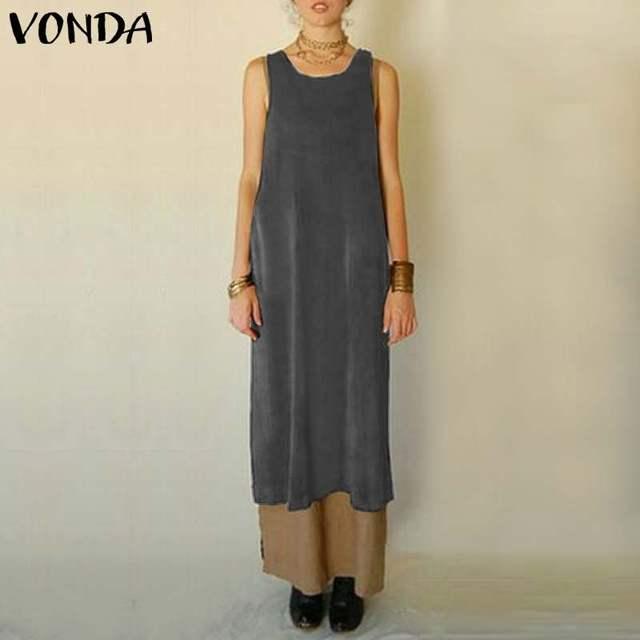ae9c9293582 2019 Summer Women Long Dress VONDA Vintage Apron Sexy Sleeveless Solid  Dresses Casual Loose Mid-Calf Vestidos Plus Size 5XL