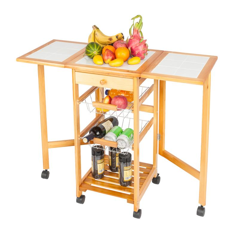 US $52.33 29% OFF|Portable Rolling Drop Leaf Kitchen Storage Trolley Cart  Island Sapele Color US Direct Shipment-in Other Kitchen Specialty Tools  from ...