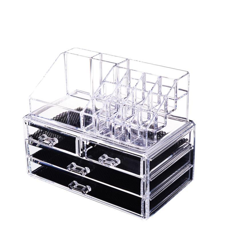 1pc Makeup Organizer Transparent Stackable Large Capacity Jewelry Cosmetic Make Up Countertop Organizer Storage Box makeup organizer storage box acrylic make up organizer cosmetic organizer makeup storage drawers organiser