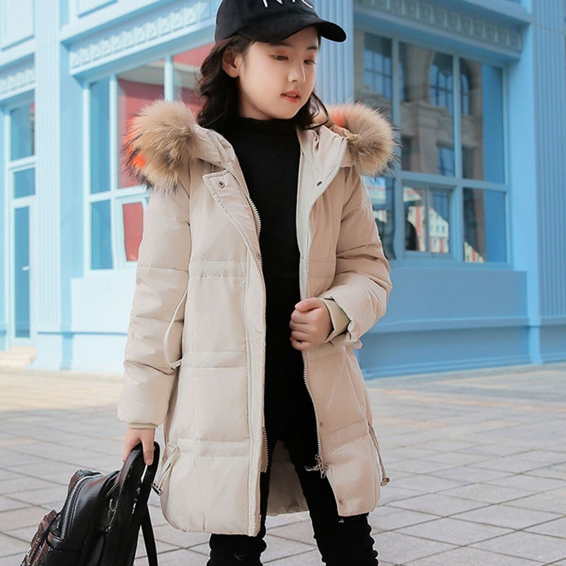 New 2018 winter long fur hooded jacket parka for girls coats 80% down jackets children's tops snow wear kids outerwear clothing 2018 girls clothing warm down jacket for girl clothes 2018 winter thicken parka real fur hooded children outerwear snow coats