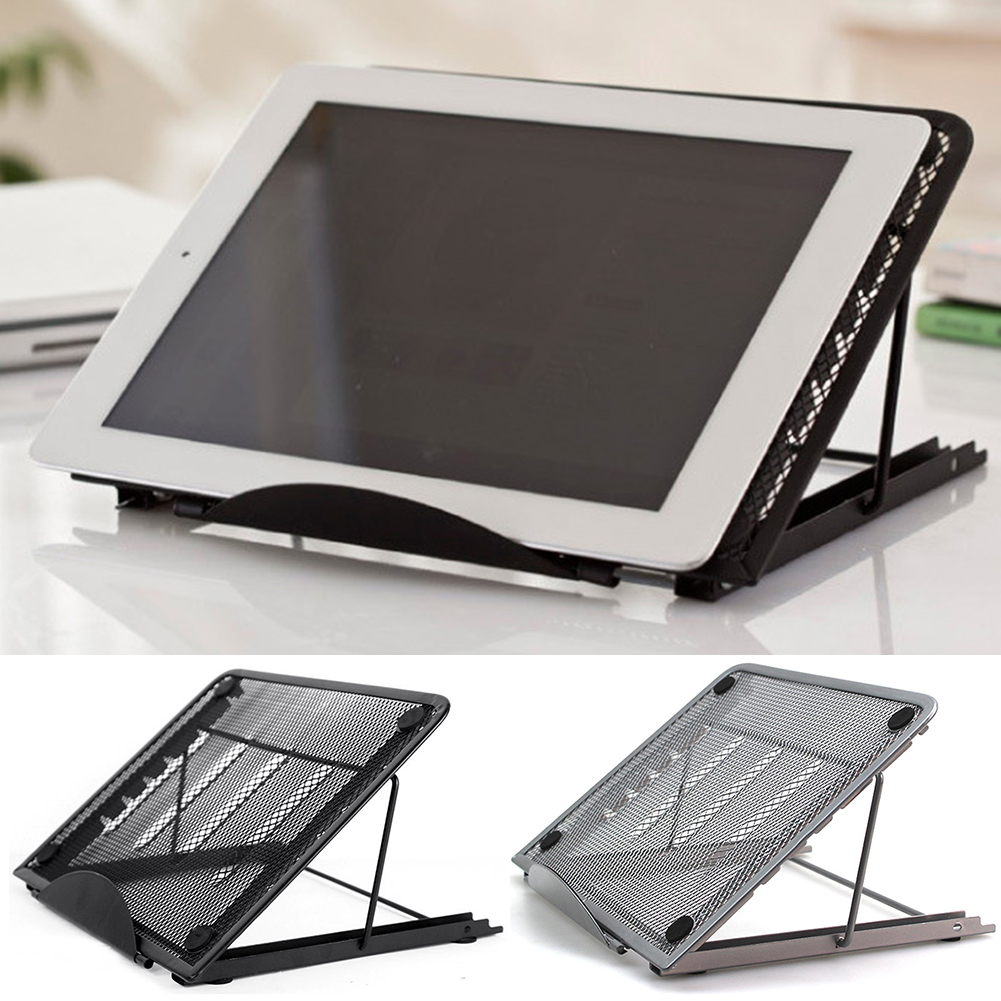Ventilated Metal Mesh Laptop Stand Folding Holder Adjustable Cooling Rack Non Slip Desktop Portable