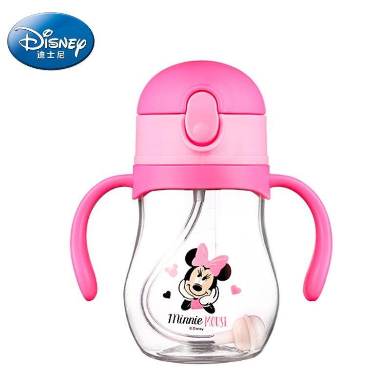 Disney 360ml Cute Minnie Mickey Baby Feeding Cup With Straw Children Learn Feeding Drinking Bottle With Handle Kids Training Cup