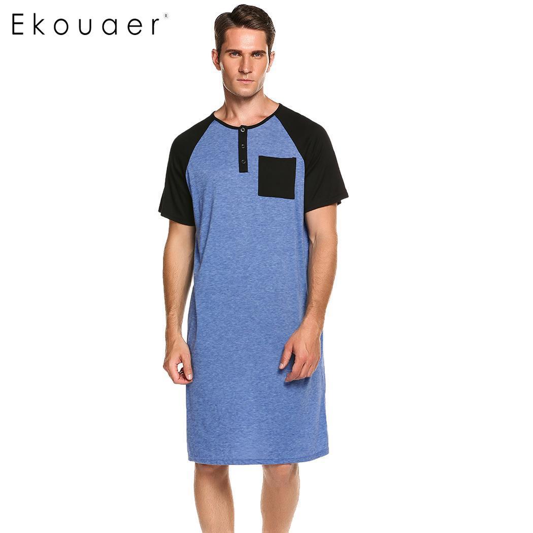 Ekouaer Men Sleepwear Long Nightshirt Short Sleeve Nightwear Night Shirt Comfortable Loose Sleep Shirt Male Homewear Sleepshirts