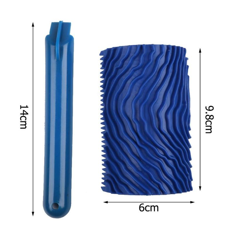 Blue Rubber Wood Grain Paint Roller DIY Graining Painting Tool Wood Grain Pattern Wall Painting Roller with Handle Home Tool-5