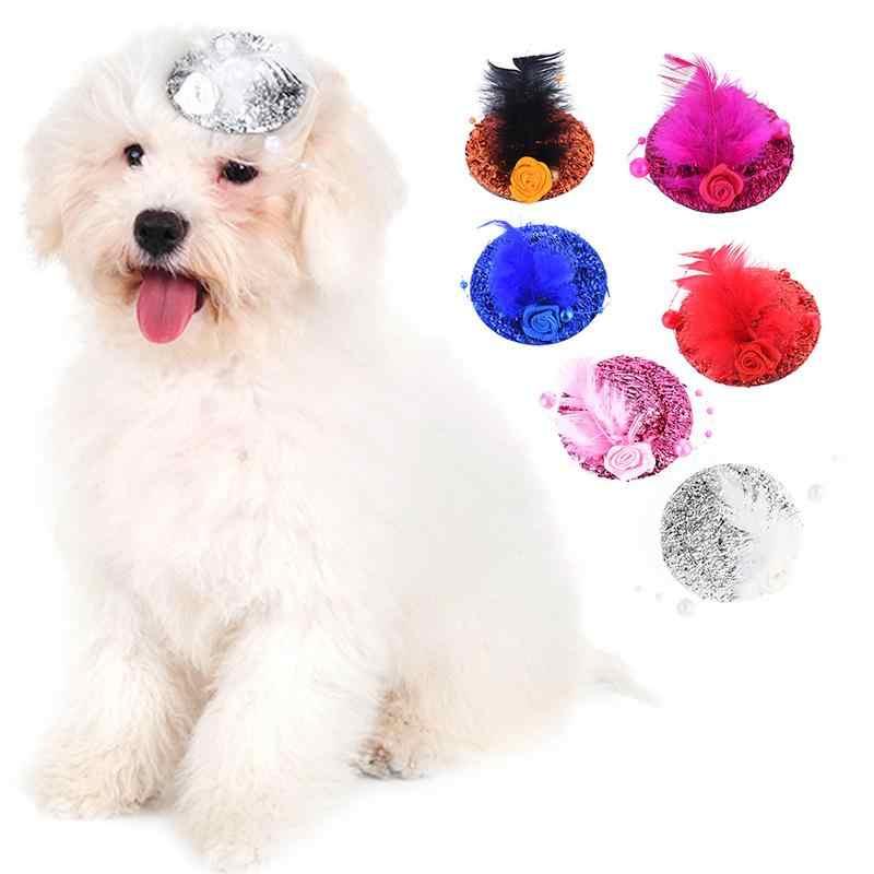 Pet Anjing Putri Mengkilap Bulu Bunga Topi Anjing Atas Jepit Rambut Kepala Top Aksesoris Anjing Lucu Holiday Dekorasi