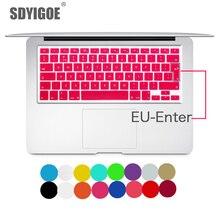 מחשב נייד מקלדת כיסוי ל macbook air 13 pro 15 אינץ A1466 A1502 A1278 A1398 האיחוד האירופי סיליקון מקלדת כיסוי צבע מגן סרט