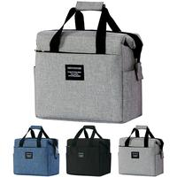 Large Capacity Portable Insulated Picnic Bag Lunch Handbag For Men Women Food Lunch Bag with Shoulder Strap Black|Bolsas p/ almoço|Bolsas e Malas -