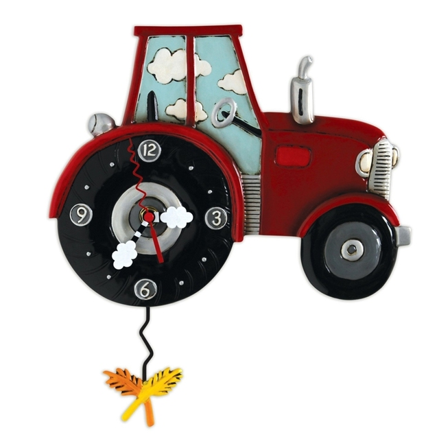 Allen Designs Tractor Time Pendulum Childs Kids Whimsical Wall Clock