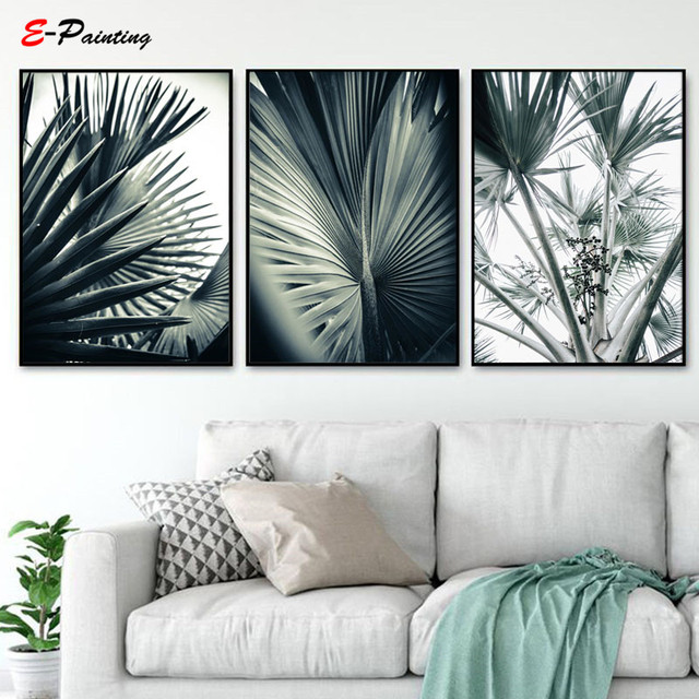 Modern Canvas Painting Tropical Green Plant Leaf Posters Nordic Botanical Print Picture Living Room Wall Art Decor
