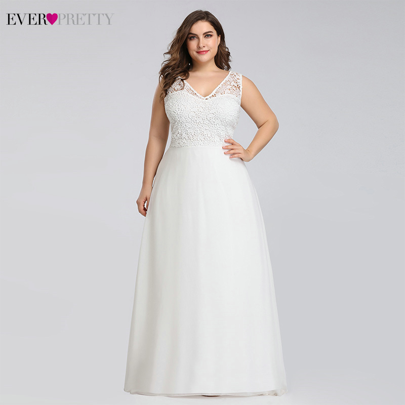 Ever pretty Plus Size Lace Wedding Dresses A Line Floor Length Sleeveless Illusion Elegant Wedding Gown 2019 Vestido De Noiva-in Wedding Dresses from Weddings & Events