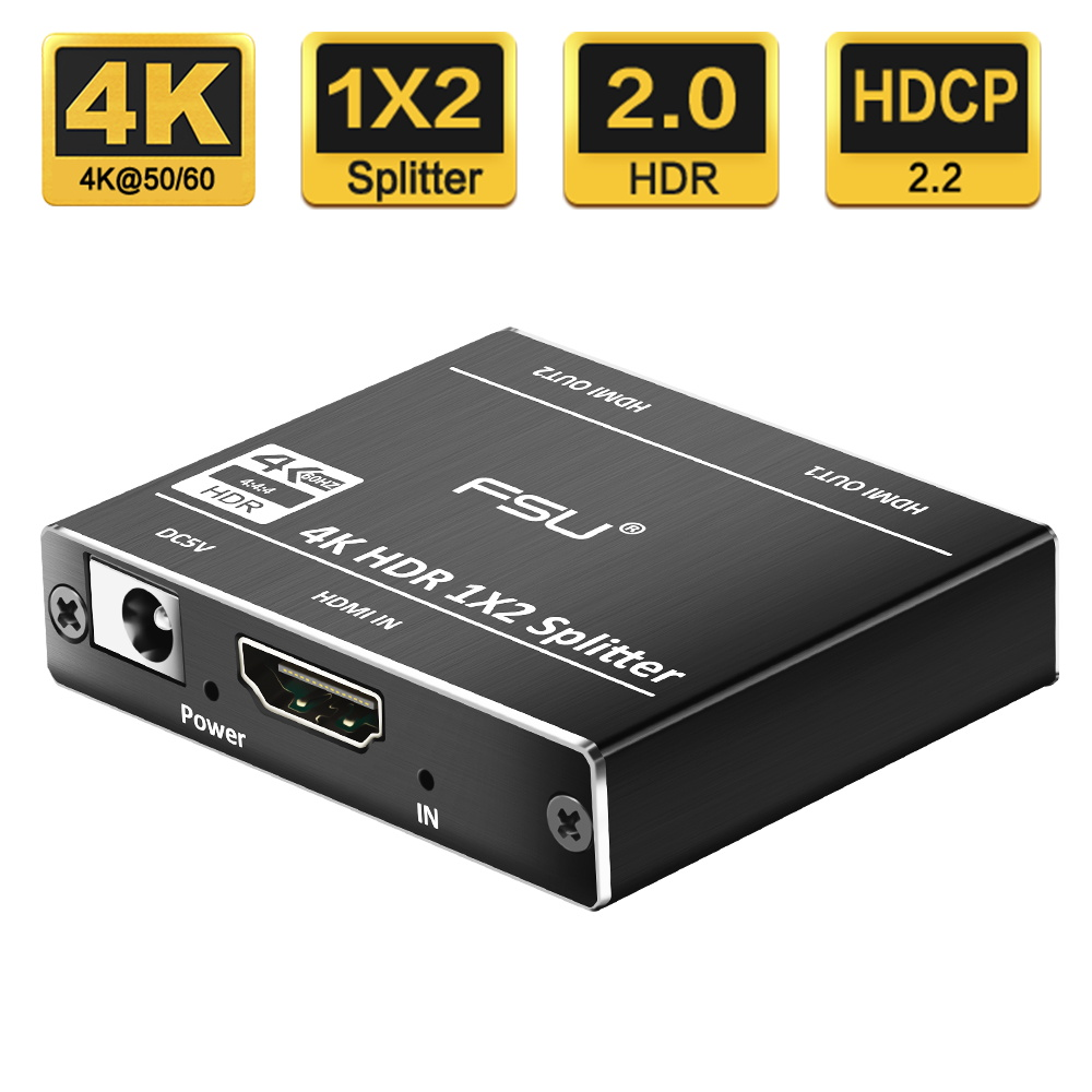 HDMI 2 0 HDR 4K@60 HDMI Splitter Full HD Video HDMI Switch Switcher 1X2  Split 1 in 2 Out Amplifier Dual Display For HDTV DVD PS3