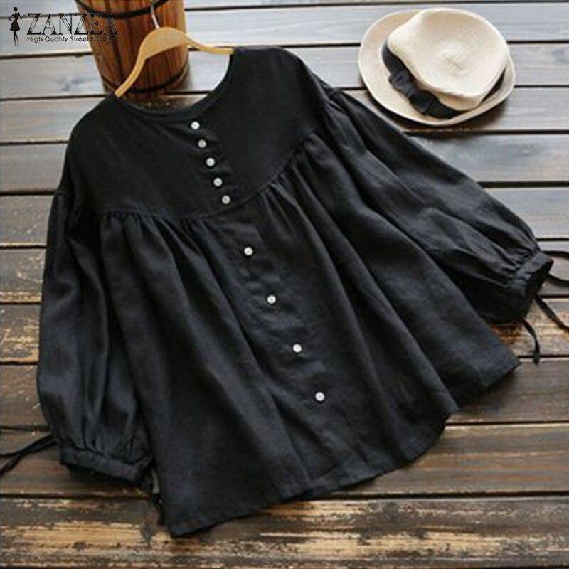 ZANZEA 2020 Spring Vintage Lantern Sleeve Blouse Women Buttons Down Solid Cotton Linen Top Tunic Ruffle Shirt Casual Blusas Robe