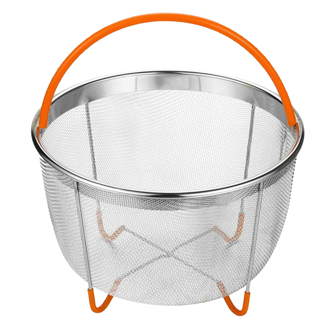 Factory Recommend 1 Pcs 6 Quart Instant Steam Basket Stainless Steel Steam Pot Steam Rice Cooker Mesh Basket - Orange
