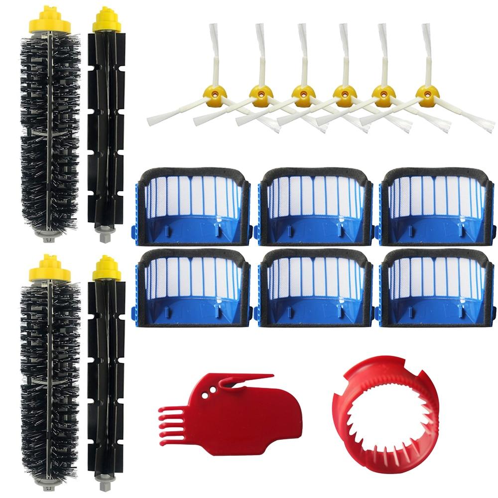 Replacement Part Kit Bristle Flexible Beater Armed Brush Aero Vac Filter Side Brush For IRobot Roomba 600 610 620 625 630 650