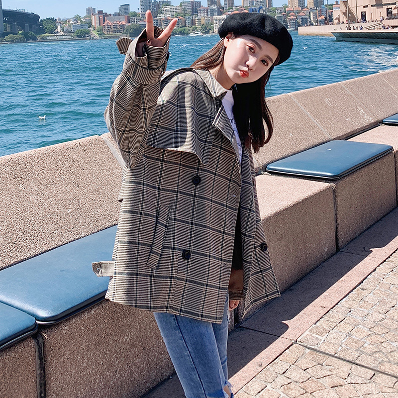 2019 new plaid short coat for women dress windbreaker loose fashion youth women 39 s coat overcoat Hot Sale in Trench from Women 39 s Clothing