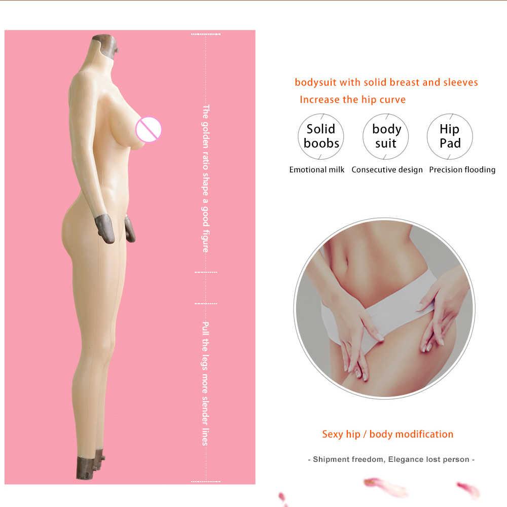 KOOMIHO C/E copa de silicona de 9 puntos Body con brazo Crossdresser seda algodón formas de mama falsa Vagina Drag Queen transexual Cosplay