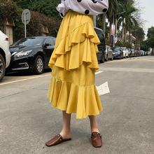 Lolita Skirt Korean Fashion Black White Long High Waist Asymmetrical Fishtail design women cake layer ruffle skirts saia