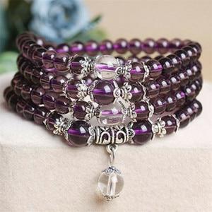 Image 2 - 6mm 108 Beads Purple Natural Crystal Bracelet Brazil Prayer Beads Multi layer Rosary Mala Bracelets