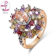 0ac842204845 ZHE FAN de lujo Multicolor Cubic Zirconia anillo flor anillo rodio oro  Color 2 tono Chapado en grupo fiesta estilo de tamaño 5-1.