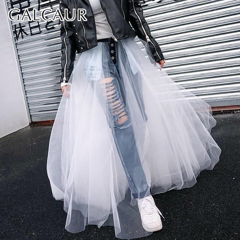 GALCAUR Spring Mesh Patchwork Women Jeans Hig Waist Ripped Hole Slim Pants Denim Casual Fashion Streetwear