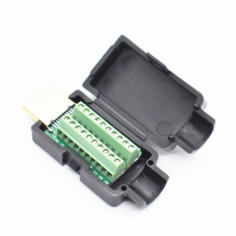 10 x HDMI Male 19P Plug Breakout Terminals Solderless Connector With Black Cover