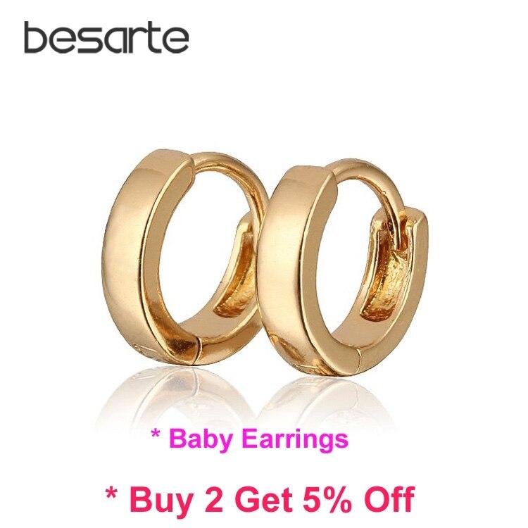 Baby Earring Gold Hoop Earrings Kids Infant Bijoux Aretes Bebe Orecchini Bambino Oorbellen Baby Jewelry Baptism Kolczyki E1582 Ювелирное изделие