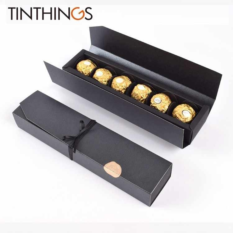 5 PCS Present Gift Box Chocolate Jewelry Wedding Favor Paper Gift Box Candy Red Black Box Packaging Ribbon Sticker Cardboard